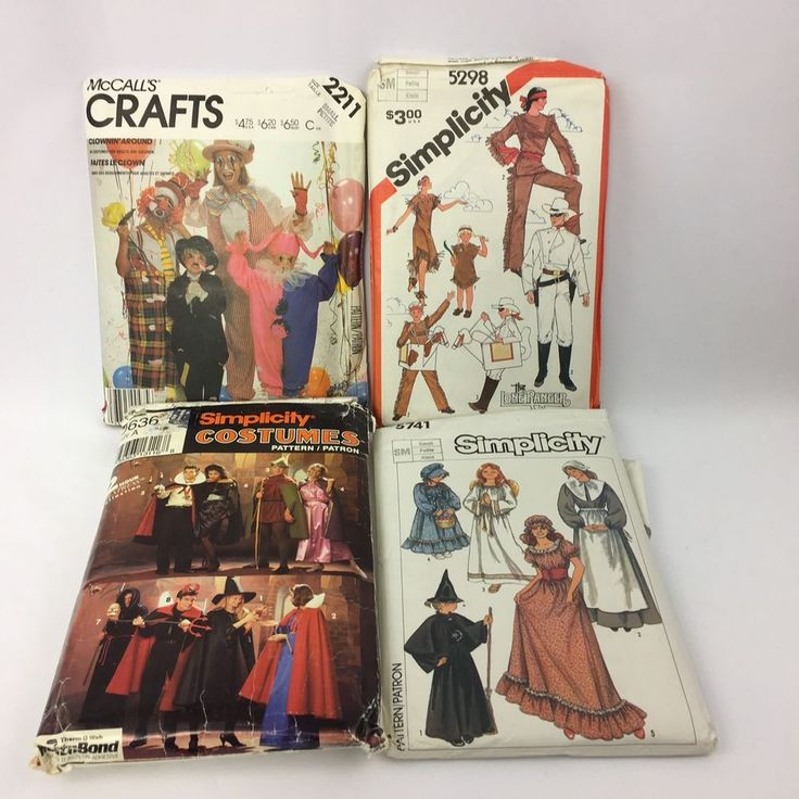 Lot of 4 Halloween Costume Patterns UnCut Witch Clowns 1980-90s Lone Ranger  #Various