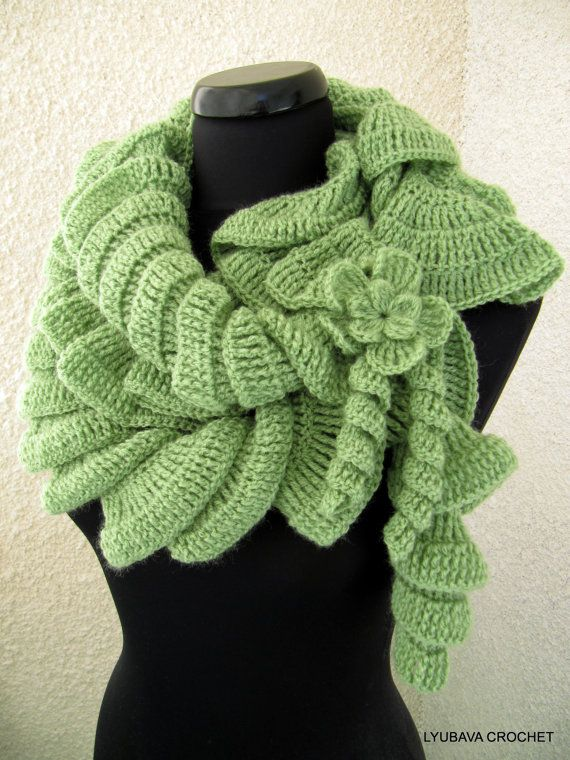 CROCHET PATTERN Ruffle Scarf With Flower, DIY Craft, Unique Crochet Ruffle Scarf Pattern, Instant Download Lyubava Crochet Pattern Pdf No.18