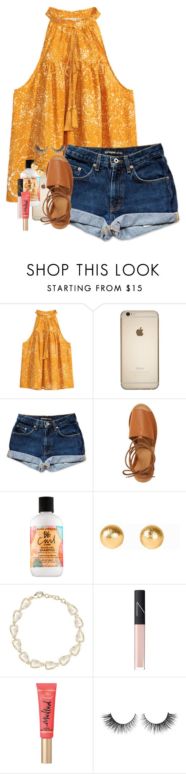 """""""Just got back from a firework show on the lake!❤️There were so many spiders on the boat though"""" by erinlmarkel ❤ liked on Polyvore featuring H&M, Topshop, Bumble and bumble, Snö Of Sweden, Kendra Scott, NARS Cosmetics, Too Faced Cosmetics and Rimini"""