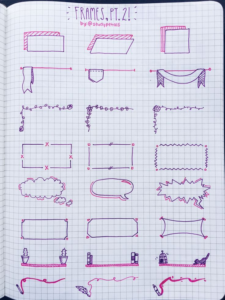 """4.6.16+11:45am // 30/100 days of productivity // made a reference page for frames (with a different color scheme!) to use while taking notes! i switched to the purple pilot g-2 because my navy one is almost out ): zoom in for better quality!song of the day:""""smiling"""" by harry gregson-williams"""