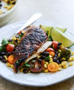 chipotle lime butter whole roasted chicken with the easiest black bean + corn salad