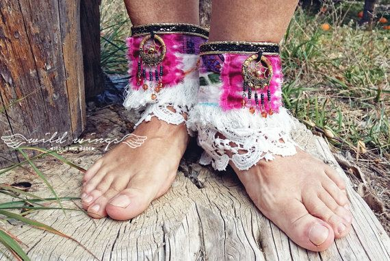 Hippie Barefoot Sandal Ankle CuffBohemian foot accessoryBoho