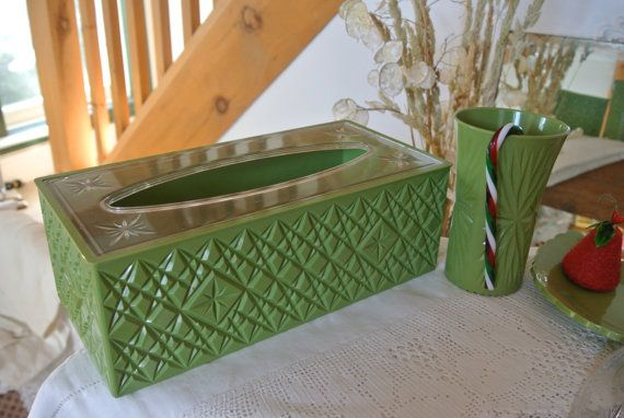 Retro Green Trelawney Bathroom Accessory Set, 4 Pieces, 1963