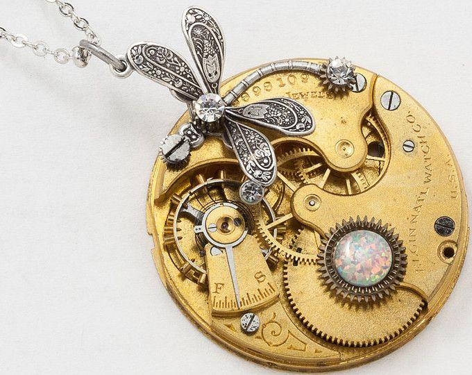 Collar de plata libélula con Vintage Elgin reloj de bolsillo oro movimiento conjunto con Opal y Swarovski Crystal en joyería Steampunk de engranajes 2843