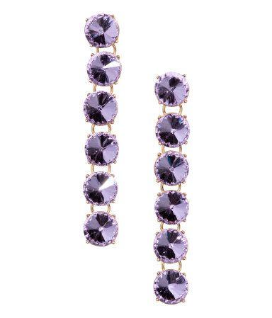 Rhinestone Earrings | Purple/gold-colored | Women | H&M US