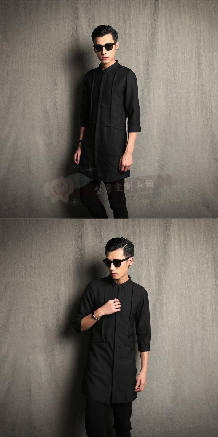 M-5XL!! Slim medium-long linen shirt male half sleeve shirt ruslana korshunova coat