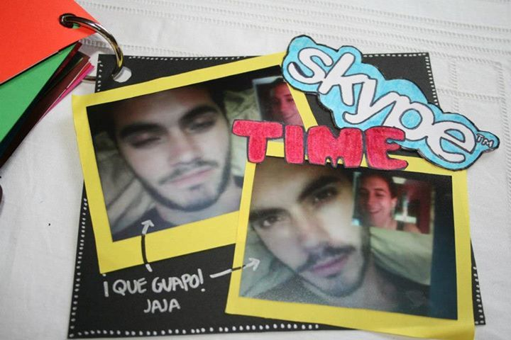 """BOYFRIEND DIY SCRAPBOOK GIFT.  """"Page 10. Skype Time"""" We're in a long distance relationship so our skype dates meant a lot to us. https://scontent-b-dfw.xx.fbcdn.net/hphotos-prn1/s720x720/68605_10152349738225263_1672747445_n.jpg"""
