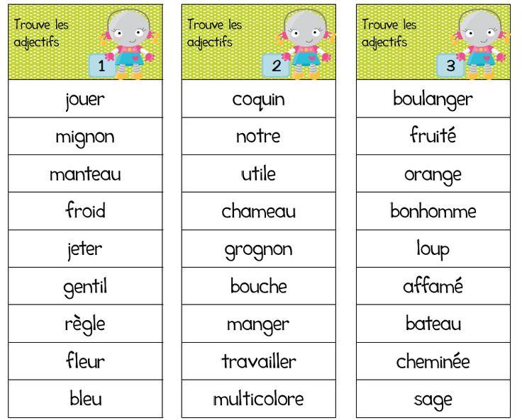 Ateliers autour de l'adjectif, jeu, grammaire, atelier