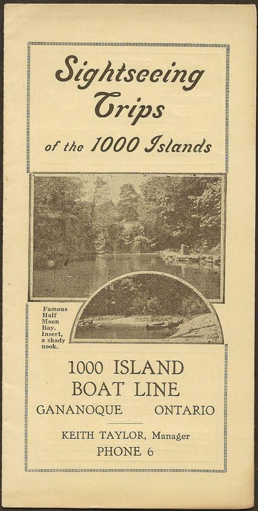Original 1930 Steamboat Schedule GANANOQUE 1000 Islands Boat Line Ontario Canada