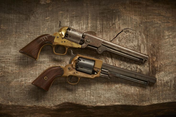 Confederate Revolvers- The Griswold  Gunnison(top) was patterned after the Colt M1851 Navy. 3,700 revolvers were made for the Confederacy until the factory was destroyed by Union troops in 1864. The production output was unrivaled by any other private Southern arms manufacturer. The Spiller  Burr Navy(bottom) was patterned after the Whitney Navy. In 1864 the Confederate gov. took over the company. The initial contracts called for the production of 15K, but less than 10% were ever…