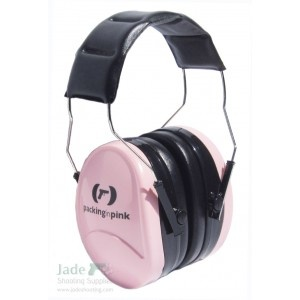 Packing in Pink Ear Muffs Shooting Hearing Protection
