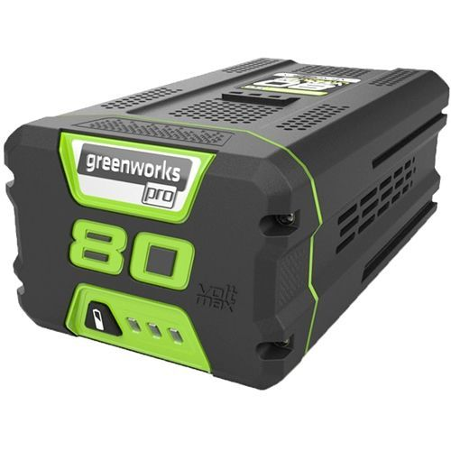 Greenworks 80V 4 0AH Lithium Ion Battery Part Number GWG80B4 Features Benefits Rapid charge of 1 hr to full capacity One battery Multiple Tool