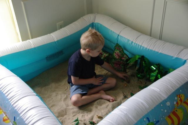 "Learning about dinosaurs - sand, dinosaurs, cheap artificial plants & stones in the 'paddling pool' - from Creekside Learning ("",)"