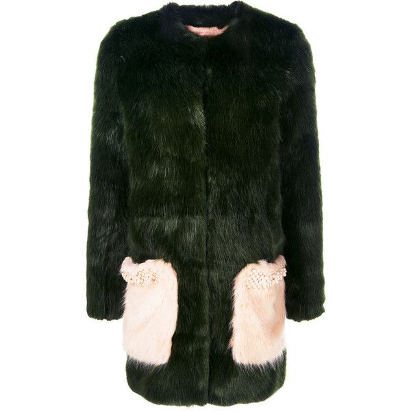Shrimps Rona coat (2.414.105 COP) ❤ liked on Polyvore featuring outerwear, coats, green, short coat, collarless coat, green coats, shrimps coat and embroidered coat