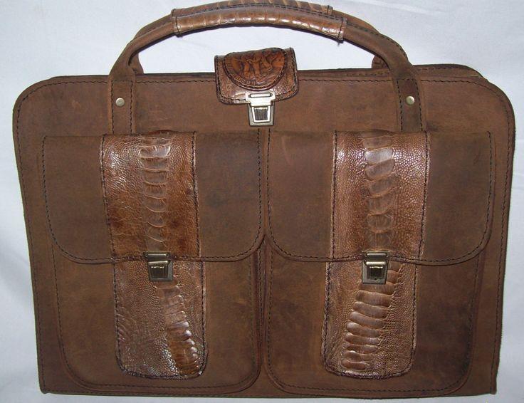 Oilpull Brief Bag With Ostrich Trim