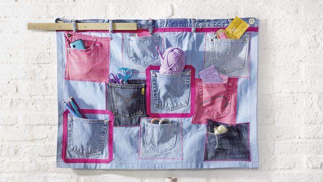Wandbehang Nähen Anleitung.Toller Upcycling Wandbehang Zur Aufbewahrung Von Kleinen Sachen
