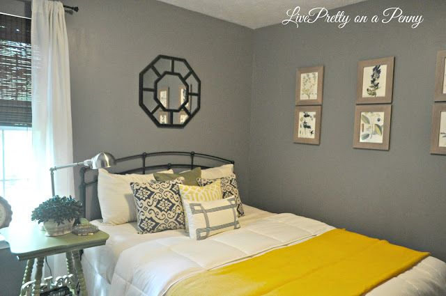 Guest Room makeover with Olympic Paint in Dover Gray.
