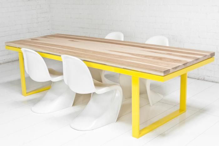 neutra solid hickory slab dining table by ModShop
