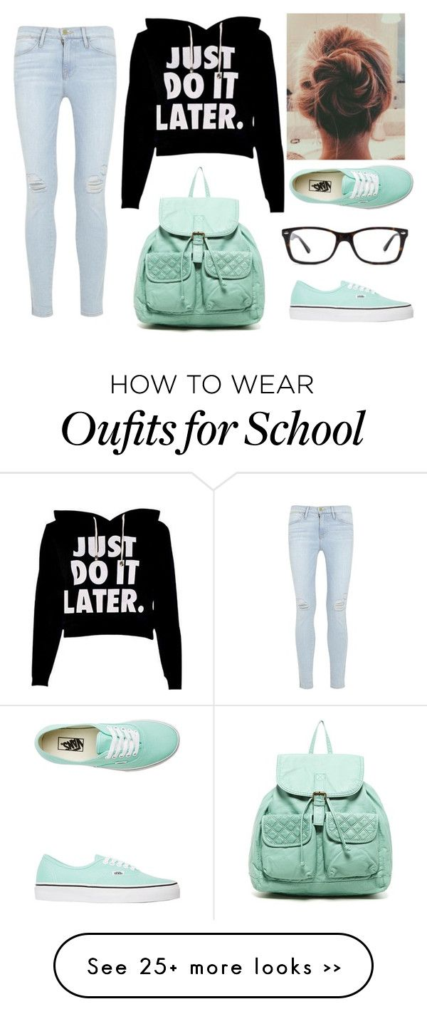 """Lazy School Outfit"" by marsophie on Polyvore featuring T-shirt & Jeans, Frame Denim, Vans and Ray-Ban"