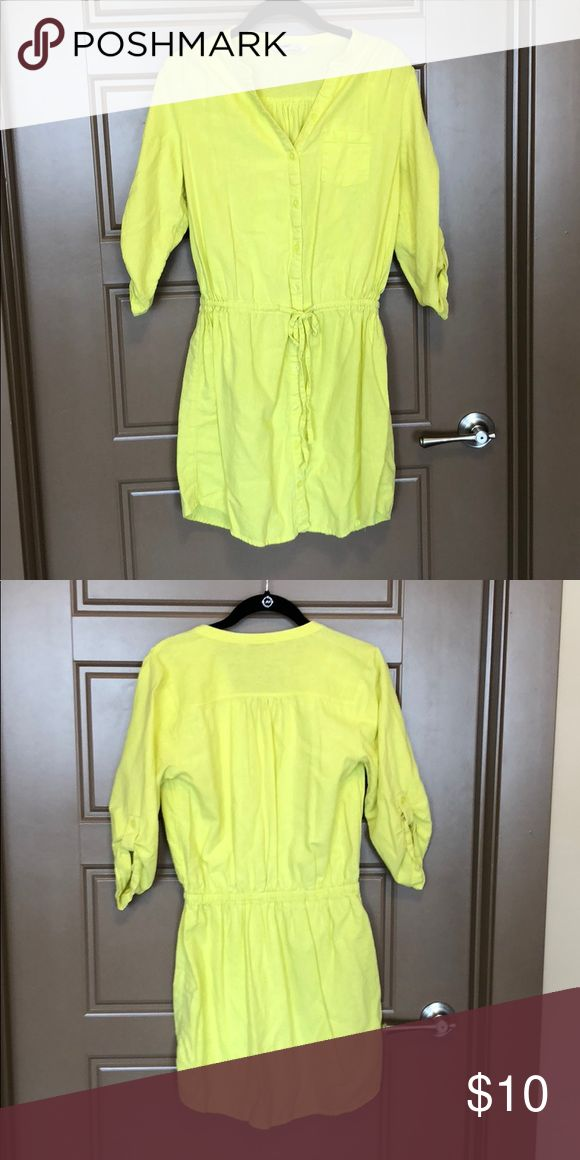Neon Yellow Dress Neon/Highlighter Yellow Dress. Linen/cotton blend. Cinched/tie waist. Would make a good swimsuit cover up, too! Worn once. Old Navy Dresses