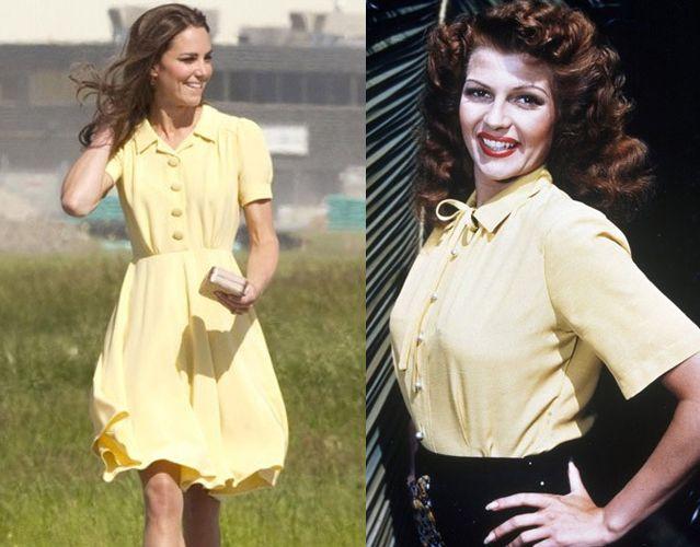 Кейт Миддлтон, одетая в стиле 1940-х. Справа Рита Хейворт
