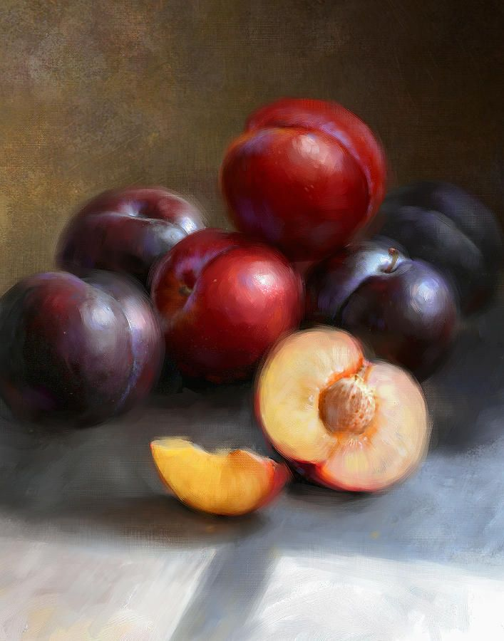 Red And Black Plums Painting by Robert Papp