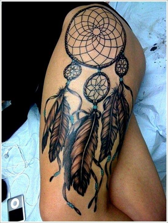 Dreamcatcher thigh tattoo