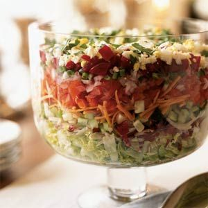 Passover Chopped Layered Salad | MyRecipes.com I'm going to make this for our Seder tomorrow.