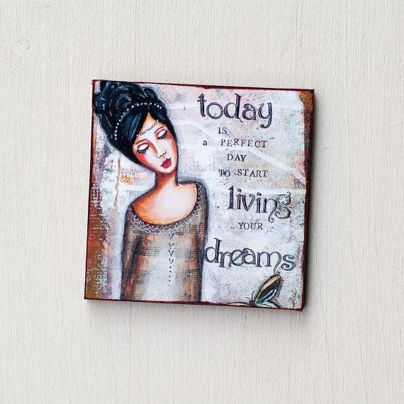 Refrigerator Magnets - Inspirational Magnets - Live Your Dream - Cute Magnet - Fridge Magnet - Whimsical Art - Mixed Media Art - Quote