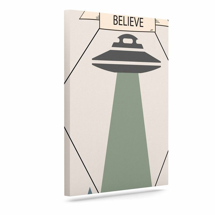 "Alias ""Believe"" Geometric Beige Canvas Art"