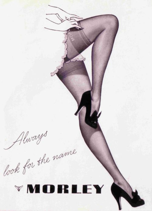 """Vintage Stockings Ad, Advertisement: """"MORLEY"""". 1950s fashion and shoes."""