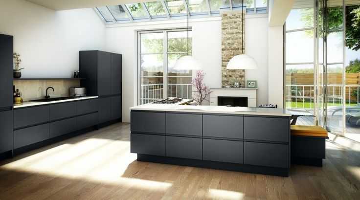 Bibury Matt Anthracite Handleless Kitchen Door from Doorbox