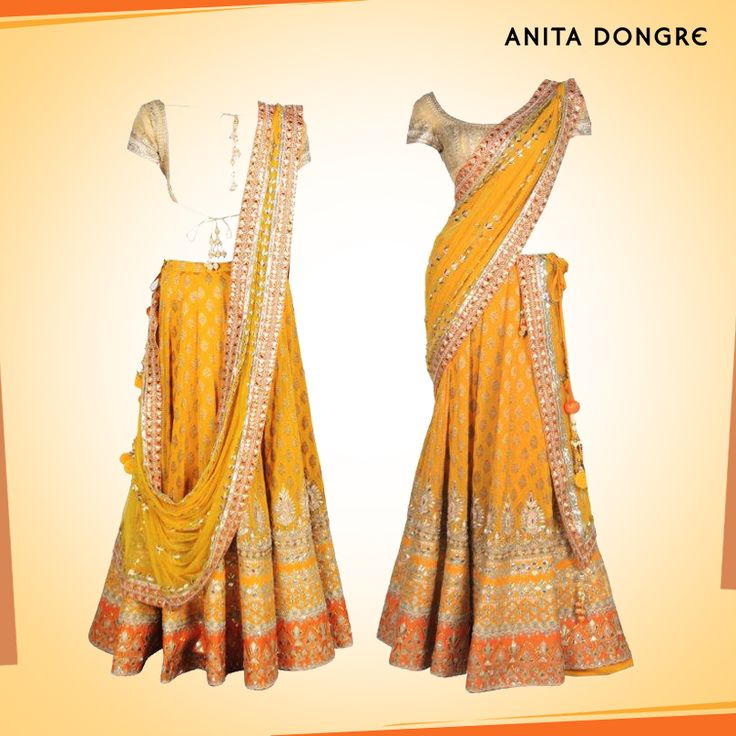Yellow and Burnt Orange Lehenga set by Anita Dongre.--really really love this!