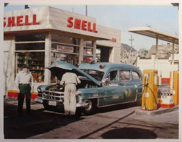 1950 Cadillac ambulance at Shell station