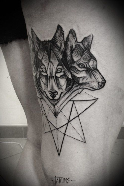I'd like one wolf face with a nice geometric pattern ...