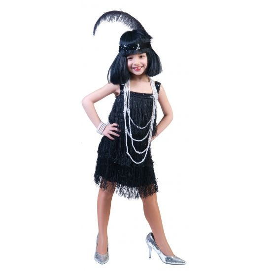 Leuke showgirl outfit met franjesvoor meisjes.