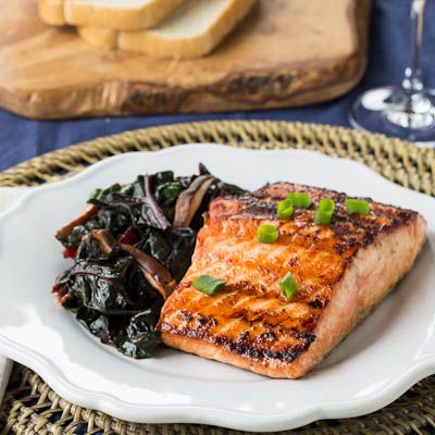 Wasabi Salmon with Spicy Swiss Chard | Seafood | Pinterest