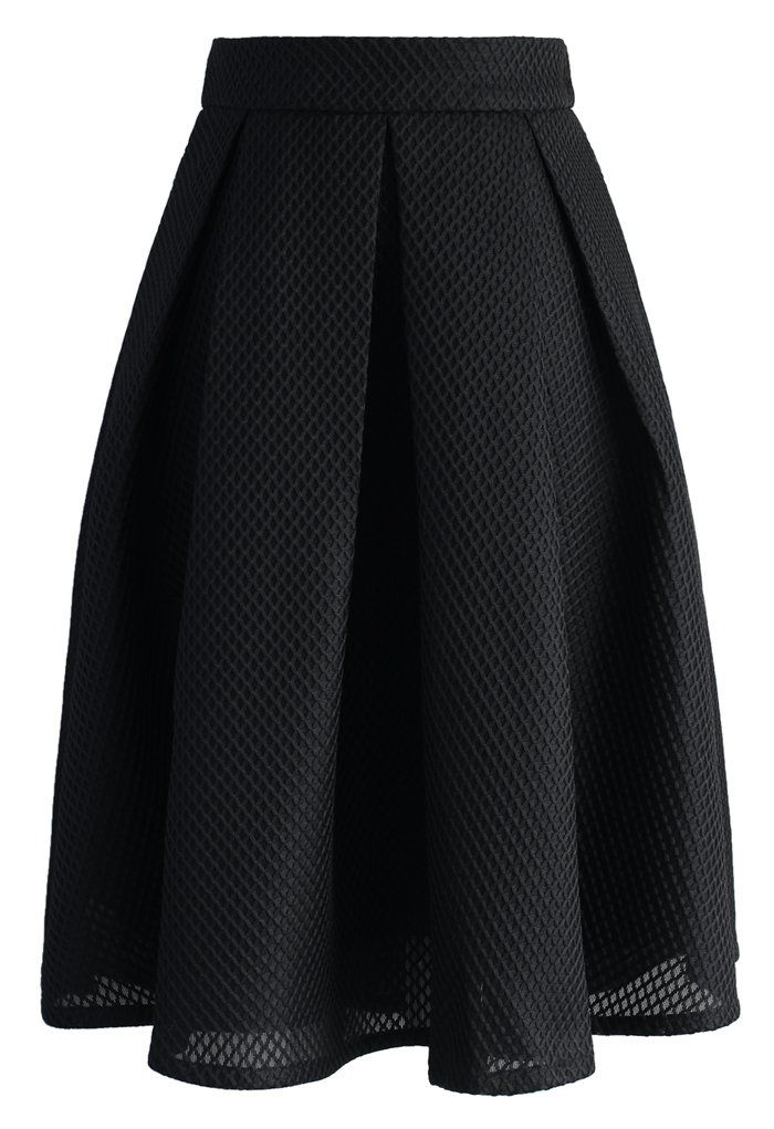 Black Waffle Pleated Midi Skirt - Skirt - Bottoms - Retro, Indie and Unique Fashion