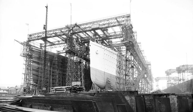Titanic (left) and Olympic at Harland Wolff's shipyard, Belfast.