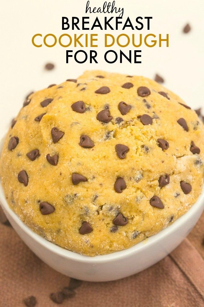 Healthy Breakfast Cookie Dough for ONE- The taste and texture of real cookie dough but with NO butter, white flour, sugar oil oil- It's packed with protein and ready in five minutes! {vegan, gluten free, paleo, refined sugar free recipe}- thebigmansworld.com