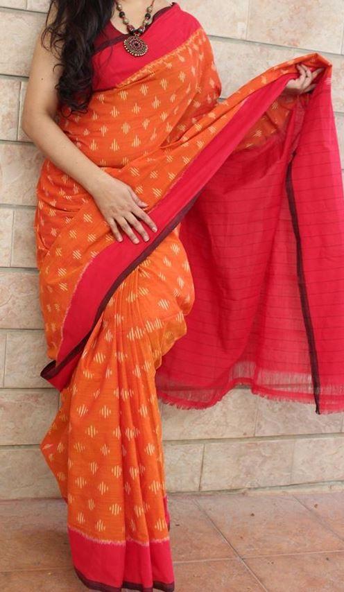 Coral Red & Orange Handwoven Pure Pochampally Ikkat Saree