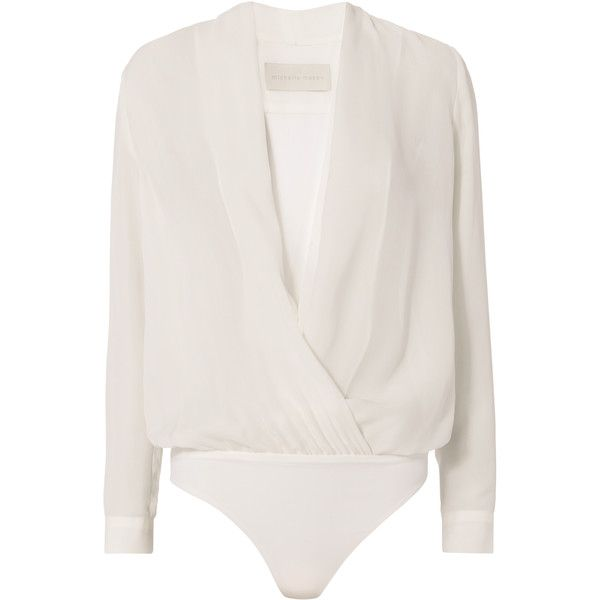 Cross Front Bodysuit Blouse ($450) ❤ liked on Polyvore featuring tops, blouses, white, white bodysuit top, white blouse, bodysuit tops, long sleeve blouse and bodysuit blouse
