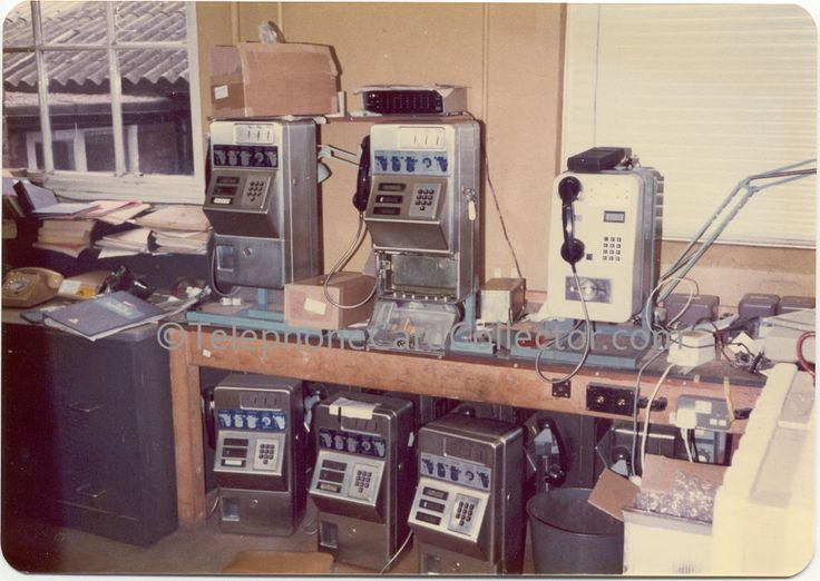 British Telecom workshop with many Blue Payphones and lone Cardphone 1A.