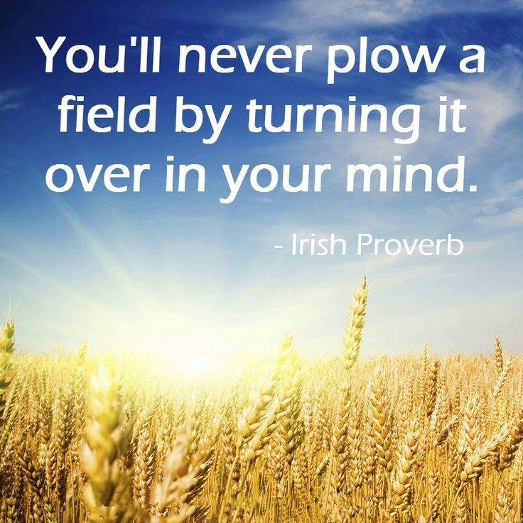 You'll never plow a field by turning it over in your mind. Irish proverb.