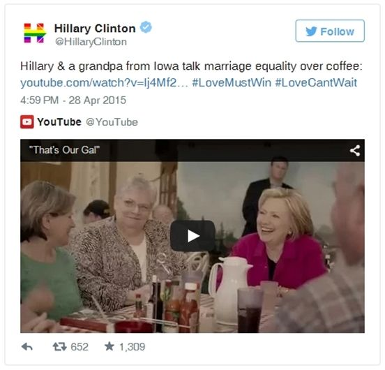 You Have To Read Hillary Clinton's Tweet about Marriage Equality! - #celebrities #fight #love #cause #gay #lgbt #hillary #clinton #tweet #marriage #equality #rainbow #president #emphasize #support #lovecantwait #lovemustwin #same #sex #marriage #same #sex #couple