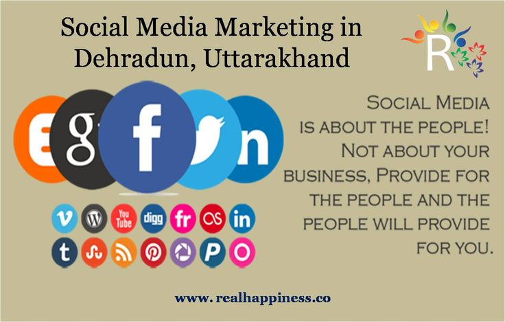Social Media Marketing in Dehradun, Uttarakhand We optimize your website and promote your content in more than 30 social networking websites like facebook, twitter, google plus, linkedin, pinterest, tumblr, flickr, instagram, stumbleupon, vk, myspace, reddit, delicious, foursquare, medium etc. http://realhappiness.co/