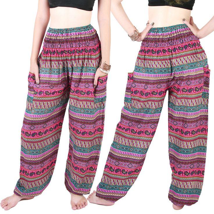 Harem Trousers - Aladdin Smock Pants Hippie Boho Jumpsuit Multi-Color Aj102P