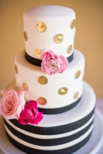 Black stripes and gold polka dots at this soft pink wedding - we love it when brides mix it up with bold decor items like this cake! | Kristina Lynn Photography | see more on http://fabyoubliss.com