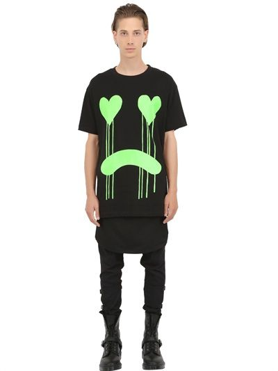 LONG CLOTHING - LIMIT.ED DRIPPY PRINTED COTTON T-SHIRT - LUISAVIAROMA - LUXURY SHOPPING WORLDWIDE SHIPPING - FLORENCE