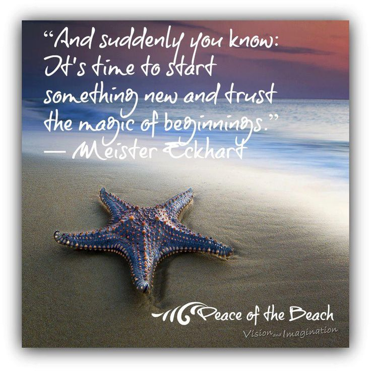 *And Suddenly You Know: It's Time To Start Something New And Trust The Magic Of Beginnings. -Meister Eckhart